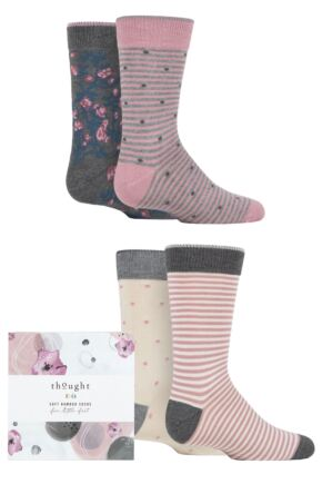 Babies and Kids 4 Pair Thought Rose Bamboo and Organic Cotton Gift Boxed Socks