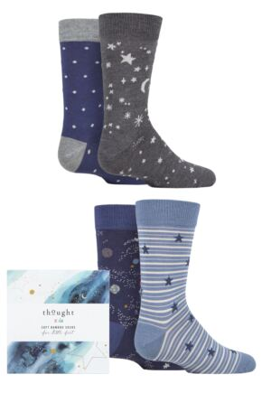 Babies and Kids 4 Pair Thought Twinkle Bamboo and Organic Cotton Gift Boxed Socks