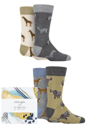 Babies and Kids 4 Pair Thought Zoological Bamboo and Organic Cotton Gift Boxed Socks