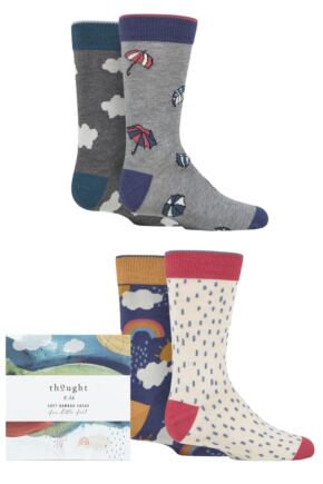 Babies and Kids 4 Pair Thought Overcast Bamboo and Organic Cotton Gift Boxed Socks