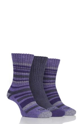 Ladies 3 Pair Storm Bloc Ribbed Performance Boot Socks Lilac 4-8 Ladies