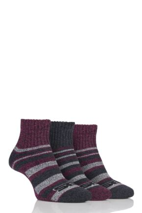 Ladies 3 Pair Storm Bloc Performance Ankle Socks Cerise 4-8 Ladies