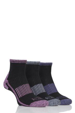 Ladies 3 Pair Storm Bloc Ankle Socks Black 4-8 Ladies