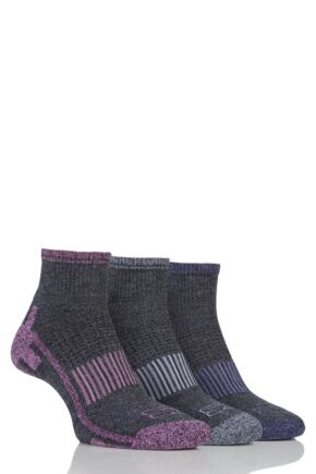 Ladies 3 Pair Storm Bloc Ankle Socks Grey 4-8 Ladies