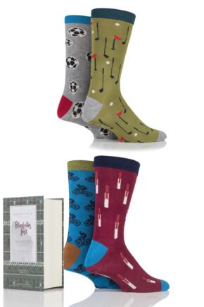 Mens 4 Pair Thought Moritz Sports Mix Bamboo and Organic Cotton Socks In Gift Box