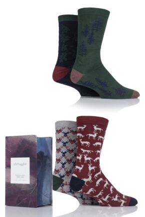Mens 4 Pair Thought Woodland Bamboo and Organic Cotton Socks In Gift Box