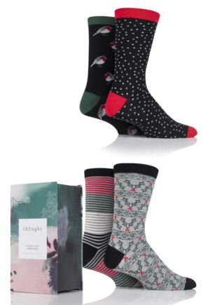 Mens 4 Pair Thought Traditional Christmas Bamboo and Organic Cotton Socks In Gift Box