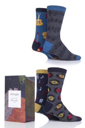 Mens 4 Pair Thought Musician Bamboo and Organic Cotton Socks In Gift Box