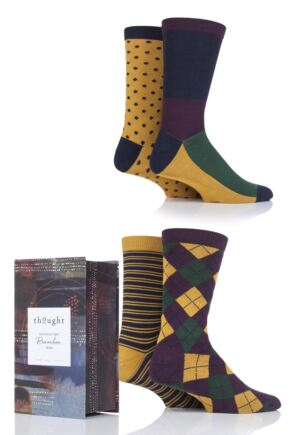 Mens 4 Pair Thought Funky Classic Bamboo and Organic Cotton Socks In Gift Box
