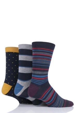 Mens 3 Pair Thought Striped Bamboo and Organic Cotton Socks