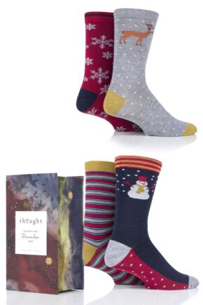 Mens 4 Pair Thought Classic Christmas Bamboo and Organic Cotton Socks Gift Box