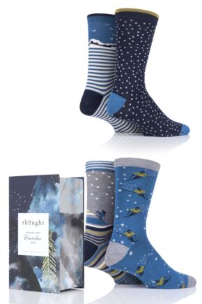 Mens 4 Pair Thought Skiing Bamboo and Organic Cotton Socks Gift Box