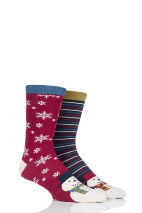 Mens 2 Pair Thought Snowman Bamboo and Organic Cotton Socks Gift Bag