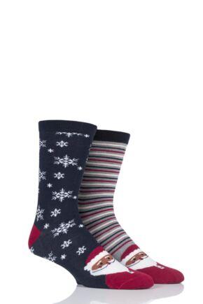 Mens 2 Pair Thought Santa Christmas Bamboo and Organic Cotton Socks Gift Bag