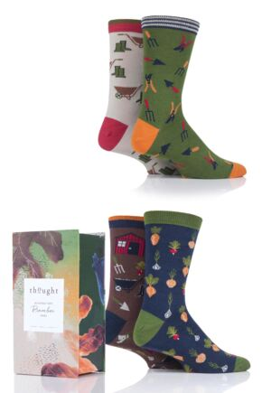 Mens 4 Pair Thought Gardener Bamboo and Organic Cotton Gift Boxed Socks