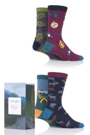 Mens 4 Pair Thought Camper Bamboo and Organic Cotton Gift Boxed Socks