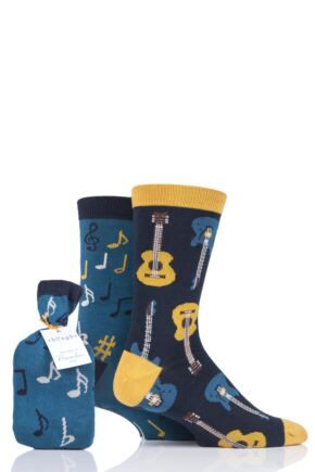 Mens 2 Pair Thought Musician Bamboo and Organic Cotton Socks Gift Bag