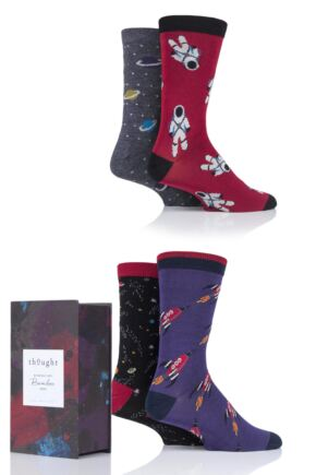 Mens 4 Pair Thought Galactic Bamboo and Organic Cotton Gift Boxed Socks