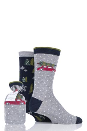 Mens 2 Pair Thought Festive Pine Bamboo and Organic Cotton Socks Gift Bag