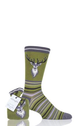 Mens 1 Pair Thought Stag Bamboo and Organic Cotton Socks Gift Bag Olive 7-11 Mens