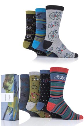 Mens 7 Pair Thought Bike Rider Bamboo and Organic Cotton Gift Boxed Socks