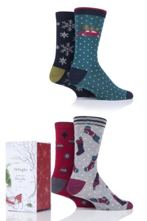 Mens 4 Pair Thought Christmas Eve Bamboo and Organic Cotton Gift Boxed Socks