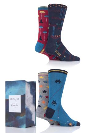 Mens 4 Pair Thought Arcade Games Bamboo and Organic Cotton Gift Boxed Socks
