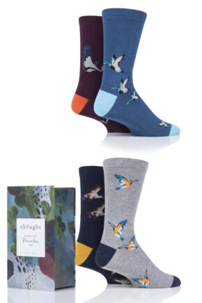 Mens 4 Pair Thought Waterfowl Bamboo and Organic Cotton Gift Boxed Socks