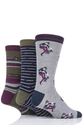 Mens 3 Pair Thought Skater Bamboo and Organic Cotton Socks