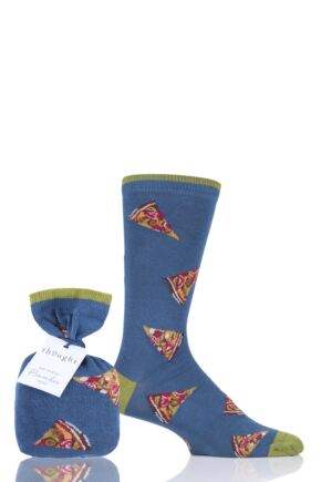 Mens 1 Pair Thought Pizza Bamboo and Organic Cotton Gift Bagged Socks