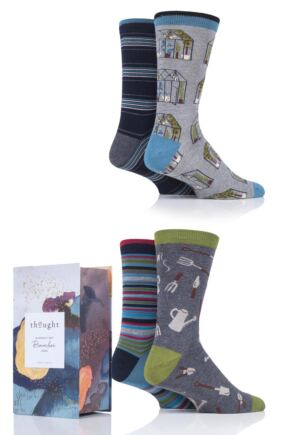 Mens 4 Pair Thought Allotment Bamboo and Organic Cotton Gift Boxed Socks