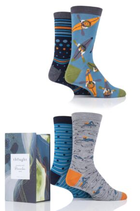 Mens 4 Pair Thought Sports Bamboo and Organic Cotton Gift Boxed Socks
