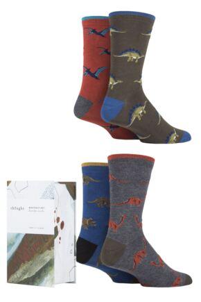 Mens 4 Pair Thought Extinct Dinosaur Bamboo and Organic Cotton Gift Boxed Socks