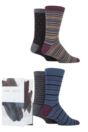 Mens 4 Pair Thought Alexandar Striped Bamboo and Organic Cotton Gift Boxed Socks