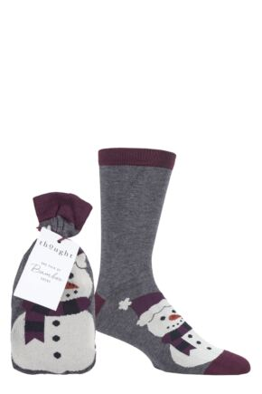 Mens 1 Pair Thought Snowman Bamboo and Organic Cotton Gift Bagged Socks