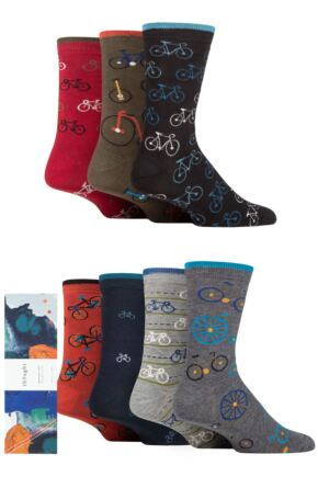 Mens 7 Pair Thought Simeon Bikes Bamboo and Organic Cotton Gift Boxed Socks
