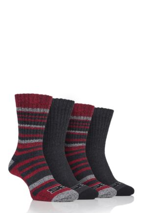 Mens 4 Pair Storm Bloc Ribbed Performance Boot Socks Black 6-11 Mens