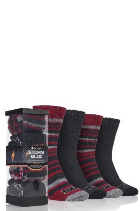 Mens 4 Pair Storm Bloc Ribbed Performance Boot Socks In Gift Box
