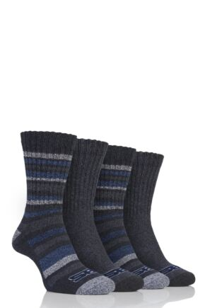 Mens 4 Pair Storm Bloc Ribbed Performance Boot Socks Charcoal 6-11 Mens