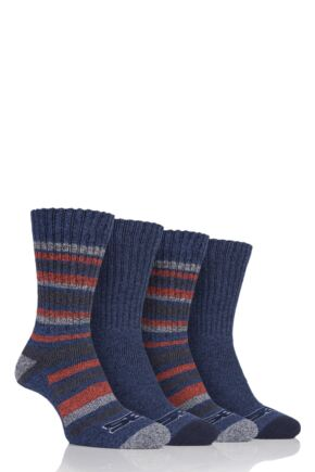 Mens 4 Pair Storm Bloc Ribbed Performance Boot Socks