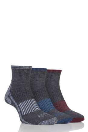 Mens 3 Pair Storm Bloc Ankle Socks Grey 6-11 Mens