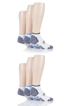 Mens 6 Pair Storm Bloc Performance Trainer Socks White 6-11 Mens