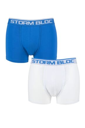 Mens 2 Pack Storm Block Cotton Rich Fitted Trunks
