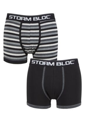 Storm Bloc Mens 2 Pair Cotton Rich Stripe Trunks