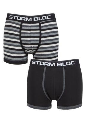 Storm Bloc Mens 2 Pair Cotton Rich Stripe Trunks