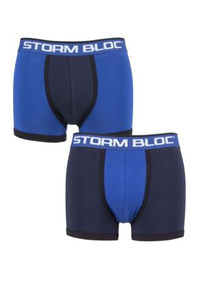 Storm Bloc Mens 2 Pair Cotton Fitted Contrast Trunks