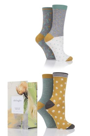Ladies 4 Pair Thought Pastoral Bamboo and Organic Cotton Socks In Gift Box