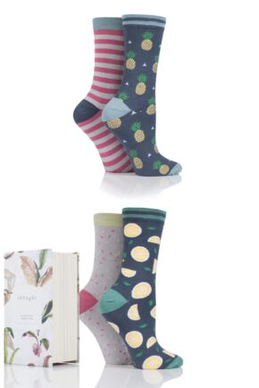 Ladies 4 Pair Thought Catalina Stripe and Spots Bamboo and Organic Cotton Socks In Gift Box
