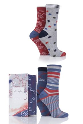 Ladies 4 Pair Thought Sashiko Bamboo and Organic Cotton Socks In Gift Box