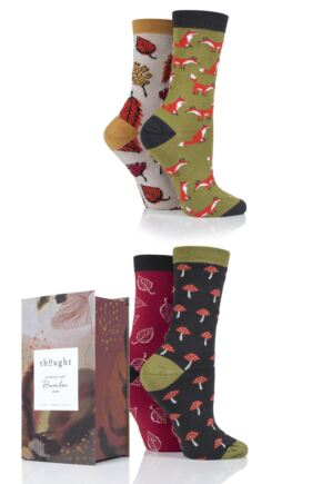 Ladies 4 Pair Thought Forest Finds Bamboo and Organic Cotton Socks Gift Box